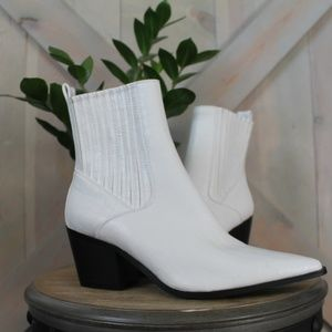 PrettyLittleThing White Faux Leather Booties
